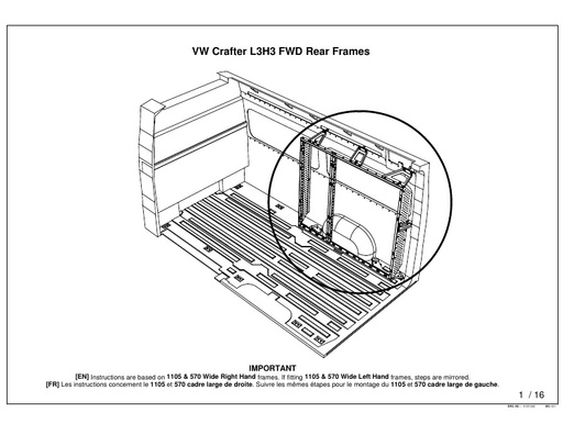 1105mm Wide Rear Frame